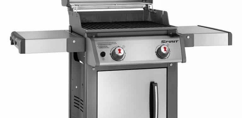 two burner gas grill with lid up